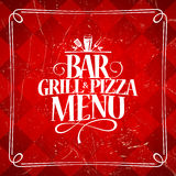 Menu de barre de gril et de pizza Photos stock