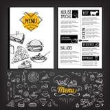 Menu de café de restaurant, conception de calibre Image libre de droits