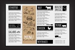 Menu de café de restaurant, conception de calibre Insecte de nourriture Images libres de droits