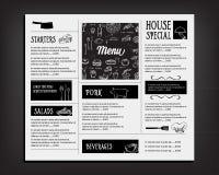 Menu de café de restaurant, conception de calibre Insecte de nourriture Photo stock