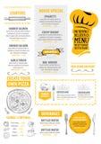 Menu de café de restaurant, conception de calibre Insecte de nourriture Image stock