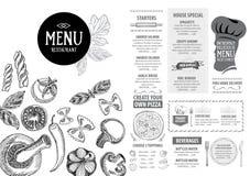 Menu de café de restaurant, conception de calibre Insecte de nourriture Photographie stock