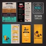 Menu de café de restaurant, conception de calibre Insecte de nourriture Photos stock