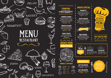 Menu de café de restaurant, conception de calibre Insecte de nourriture Image stock