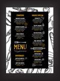 Menu de café de restaurant, conception de calibre Insecte de nourriture Photo libre de droits