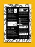 Menu de café de restaurant, conception de calibre Insecte de nourriture Photos libres de droits
