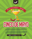 Menu de Cinco De Mayo, affiche, invitation, page Web illustration libre de droits