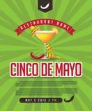 Menu de Cinco De Mayo, cartaz, convite, página da web ilustração royalty free