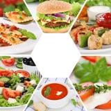 Menu de collage de collection de nourriture mangeant le restaurant de repas de repas de boissons Images libres de droits