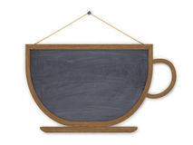 Menu de conseil en bois dans une tasse Photographie stock libre de droits