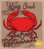 Menu de crabe de griffonnage Photos stock