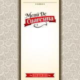Menu de Cuaresma - Lenten menu spanish text - Lent sea food vector menu cover design Stock Photography