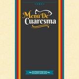 Menu de Cuaresma - spanischer Text des Lenten Menüs - geliehenes Meeresfrucht-Vektormenü-Abdeckungsdesign Lizenzfreie Stockbilder