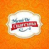 Menu de Cuaresma, texto español del menú cuaresmal, diseño de la cubierta del menú del emblema del vector de Lent Sea Food ilustración del vector