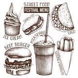 Menu de festival de nourriture de rue Collection de croquis de cru taco figé de secteur de kebab d'aliments de préparation rapide illustration libre de droits