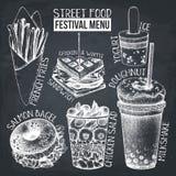 Menu de festival de nourriture de rue Collection de croquis de cru taco figé de secteur de kebab d'aliments de préparation rapide illustration de vecteur