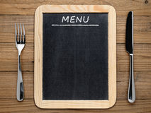 Menu de fourchette, de couteau et de tableau noir Photos libres de droits
