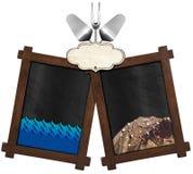 Menu de fruits de mer avec deux tableaux noirs Photographie stock