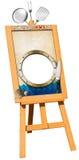 Menu de fruits de mer - enseigne en bois sur le chevalet Photographie stock