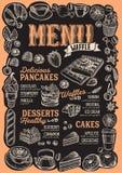 Menu de gaufre et de crêpe pour le restaurant avec le cadre de tiré par la main illustration libre de droits