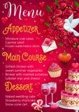 Menu de jour du mariage Plats principaux, apéritif de desserts illustration libre de droits