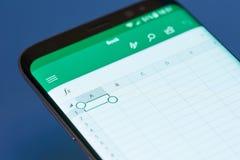 Menu de moblie d'Excel photo stock