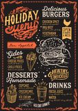 Menu de Noël pour le restaurant d'hamburger, calibre de nourriture illustration libre de droits