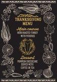Menu de nourriture de thanksgiving pour la célébration de dîner de vacances illustration stock