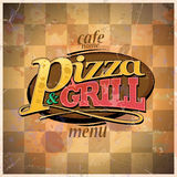 Menu de pizza et de gril Photo stock