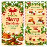 Menu de plat de restaurant de vecteur de dîner de Noël illustration stock