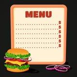 Menu de restaurant avec des tranches d'hamburger de viande et d'oignon de trd illustration stock