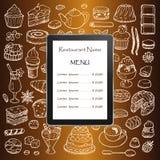 Menu de restaurant avec les éléments et la tablette tirés par la main de griffonnage Images stock