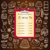Menu de restaurant avec les éléments tirés par la main de griffonnage Image libre de droits