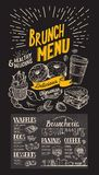Menu de restaurant de brunch sur le fond de tableau illustration stock