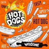 Menu de restaurant de café de hot-dog Dirigez les sous cartes d'insecte d'aliments de préparation rapide de sandwichs pour le caf illustration libre de droits