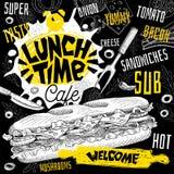 Menu de restaurant de café de temps de déjeuner Dirigez les sous cartes d'insecte d'aliments de préparation rapide de sandwichs p illustration stock