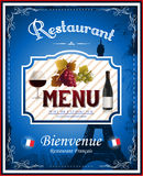 Menu de restaurant de vintage et conception français d'affiche Photographie stock libre de droits