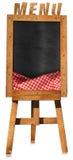 Menu de restaurant - tableau noir vide sur un chevalet Photos stock