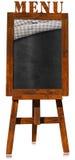 Menu de restaurant - tableau noir vide sur un chevalet Image stock