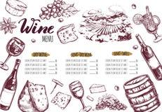 Menu 3 de restaurant de vin Image stock