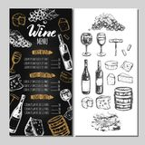 Menu 5 de restaurant de vin Image stock
