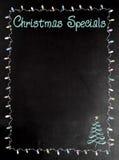 Menu de tableau noir ou de tableau avec les Specials de Noël de mots Image libre de droits