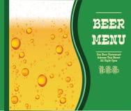 Menu de vecteur avec des baisses de bière sur le fond vert En particulier calibre 10 Photo libre de droits
