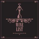 Menu de vin Image stock