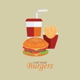 Menu degli alimenti a rapida preparazione con il cheeseburger Immagini Stock