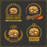 Menu degli alimenti a rapida preparazione Emblemi dell'hamburger, etichette ed elementi di progettazione Modello di progettazione illustrazione di stock