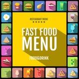 Menu degli alimenti a rapida preparazione Insieme delle icone delle bevande e dell'alimento Progettazione piana di stile Immagine Stock Libera da Diritti