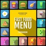 Menu degli alimenti a rapida preparazione Insieme delle icone delle bevande e dell'alimento Progettazione piana di stile Fotografie Stock