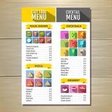 Menu degli alimenti a rapida preparazione Insieme delle icone delle bevande e dell'alimento Progettazione piana di stile Fotografia Stock