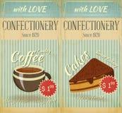 Menu del caffè delle schede dell'annata due Immagine Stock